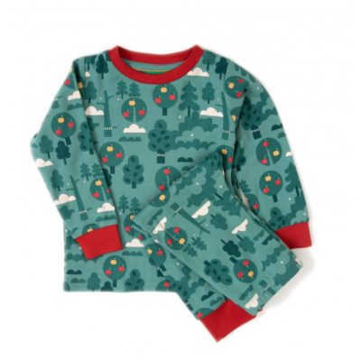 organic kids pajamas - apple tree prints