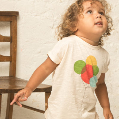 Unisex Kids Tshirt with Balloon Print Made from Organic Slub Jersey Material which is so soft