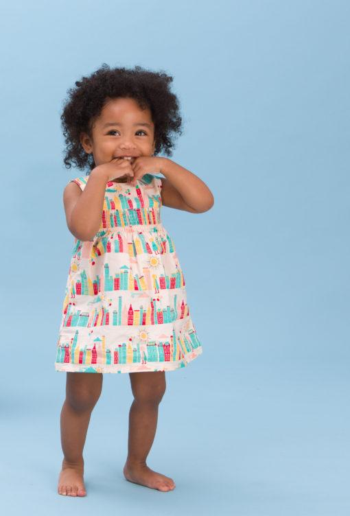 Organic smoked dress for little girls