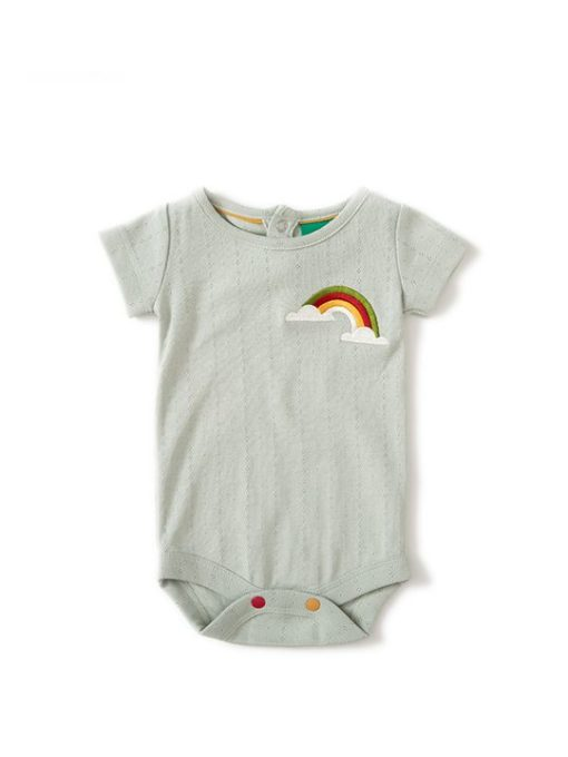 Organic baby bodysuit - pale aqua with rainbow embroidery on the side