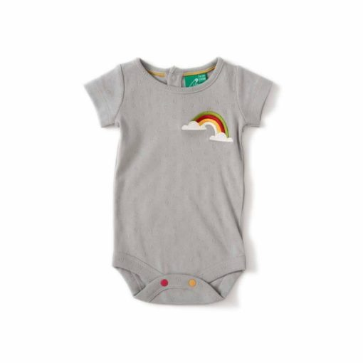 short sleeve Organic baby bodysuit - turqouise colour with rainbow embroidery on the side
